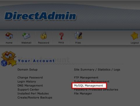 การกำหนดสิทธิ์ User ของ MySQLบน DirectAdmin